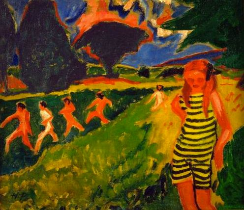 Pechstein 'The Black and Yellow Bathing Suit' (1909)