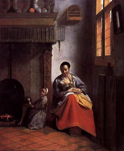 Pieter de Hooch 'A Woman Nursing an Infant with a Child and a Dog' (c.1658 - 60)