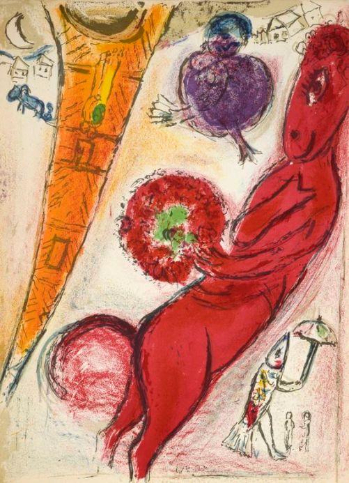 Chagall 'Tour Eiffel à l'âne rouge' (lithograph, 1954)
