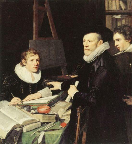 Jan van Ravesteyn 'Portrait of Pieter van Veen with his Son and Secretary' (c.1620)