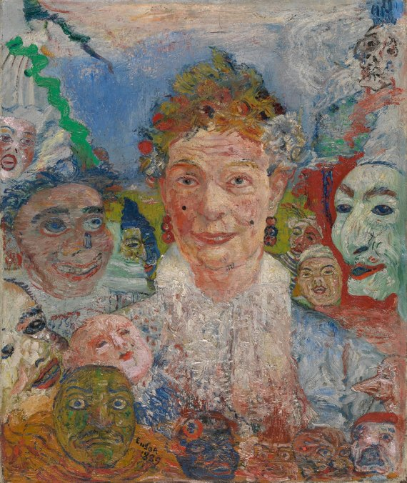 James Ensor 'Old Lady with Masks' (1889)