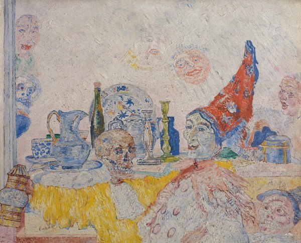 James Ensor 'Pierrot and Skeleton in a Yellow Robe' (1893)