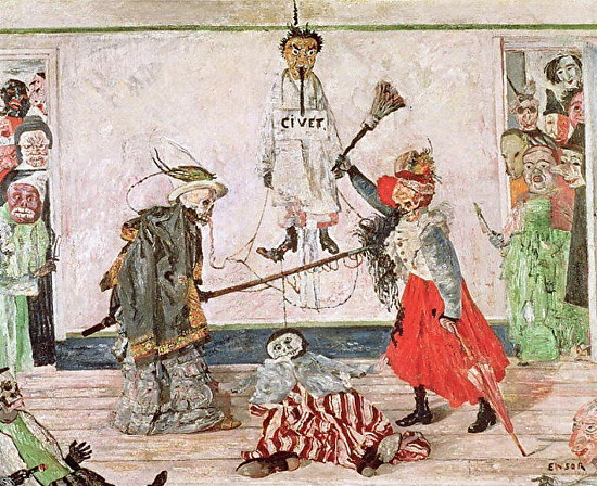 James Ensor 'Skeletons Fighting over the Body of a Hanged Man' (1891)