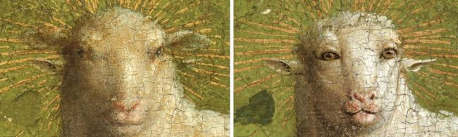 Jan van Eyck 'Ghent Altarpiece' (detail, before and after restoration) 2