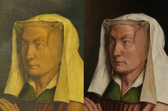 Jan van Eyck 'Ghent Altarpiece' (detail, before and after restoration)