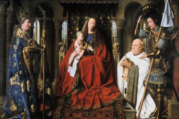 Jan van Eyck 'Virgin and Child with Canon van der Paele' (1434 - 36)