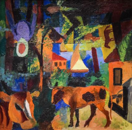 August Macke 'Landscape with Cows, Sail Boat and Figures' (1914)