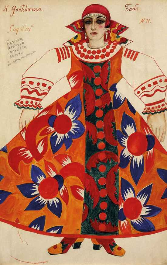 Goncharova-Peasant-woman.-Costume-design-for-Le-Coq-dOr (1937)