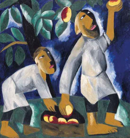 Goncharova-Peasants-Picking-Apples-(1911)