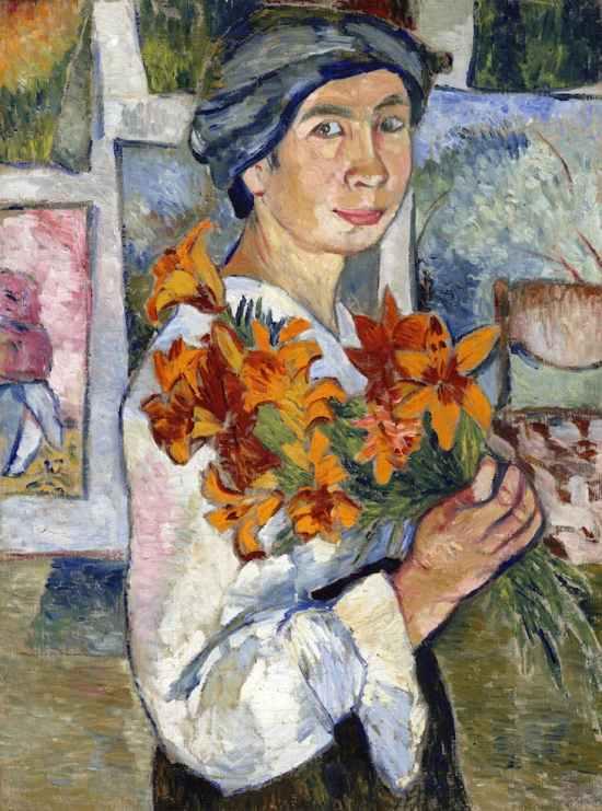 Goncharova-Self-Portrait-with-Yellow-Lilies (1907 - 08)