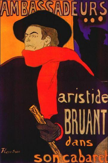 Toulouse-Lautrec 'Aristide Bruant Ambassadeurs poster' (1892)